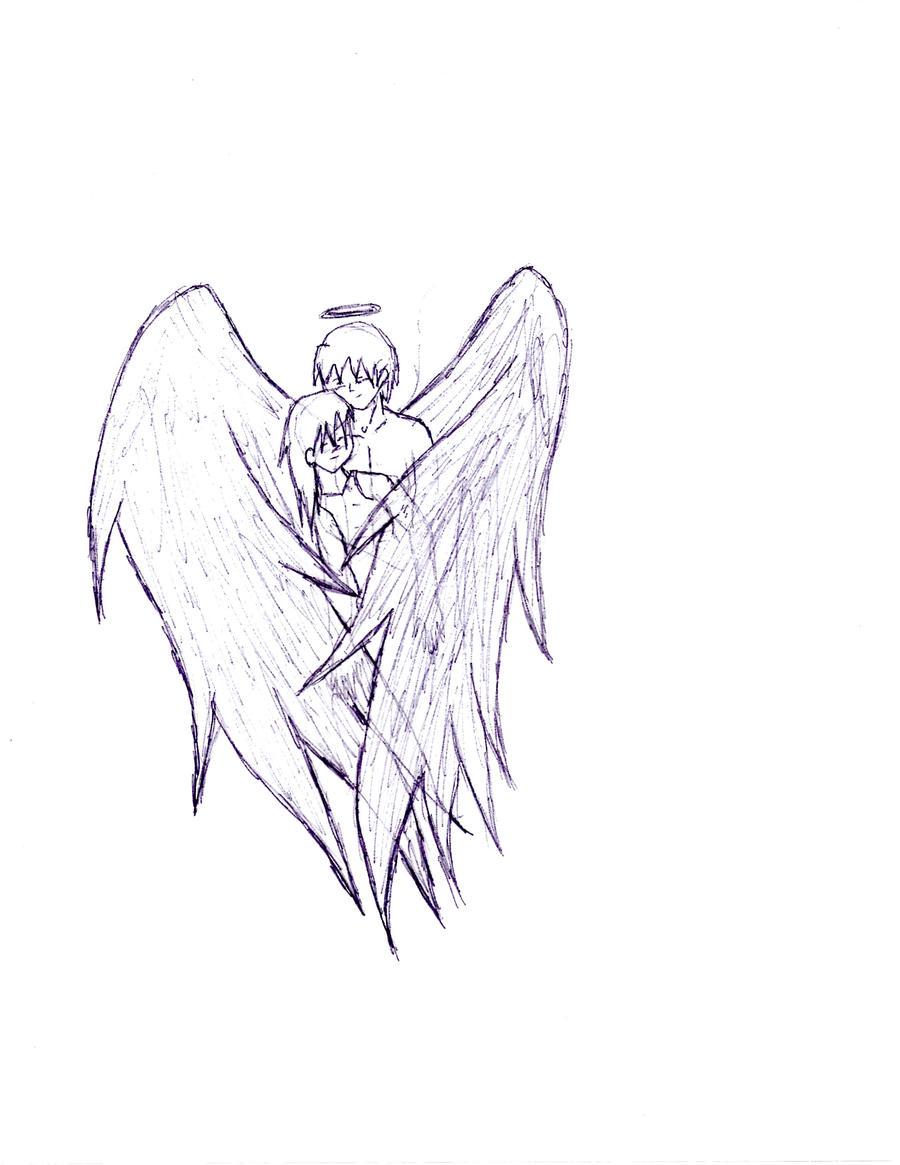 Картинки ангела с крыльями для срисовки