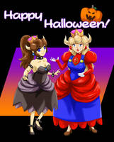 Happy Halloween from Bowsette and Princess Mario! by FieryJinx