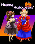 Happy Halloween from Bowsette and Princess Mario!