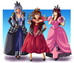 COMMISSION: Princesses Sora, Kairi, and Riku by FieryJinx