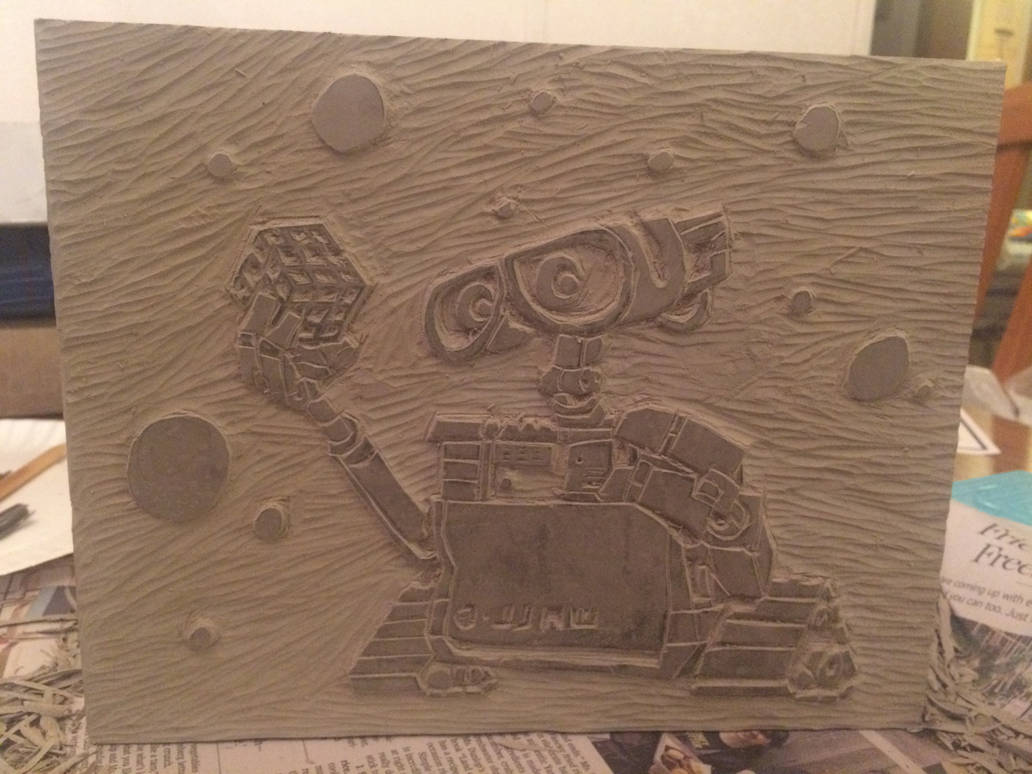 Wall e and the rubix cube [linoleum stamp carving] by lefty343 on