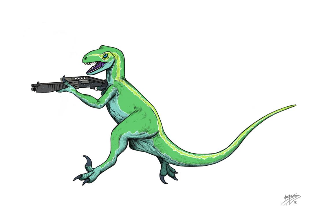 commission : raptor with a shotgun-white backgroun by tnilab-ekneb121