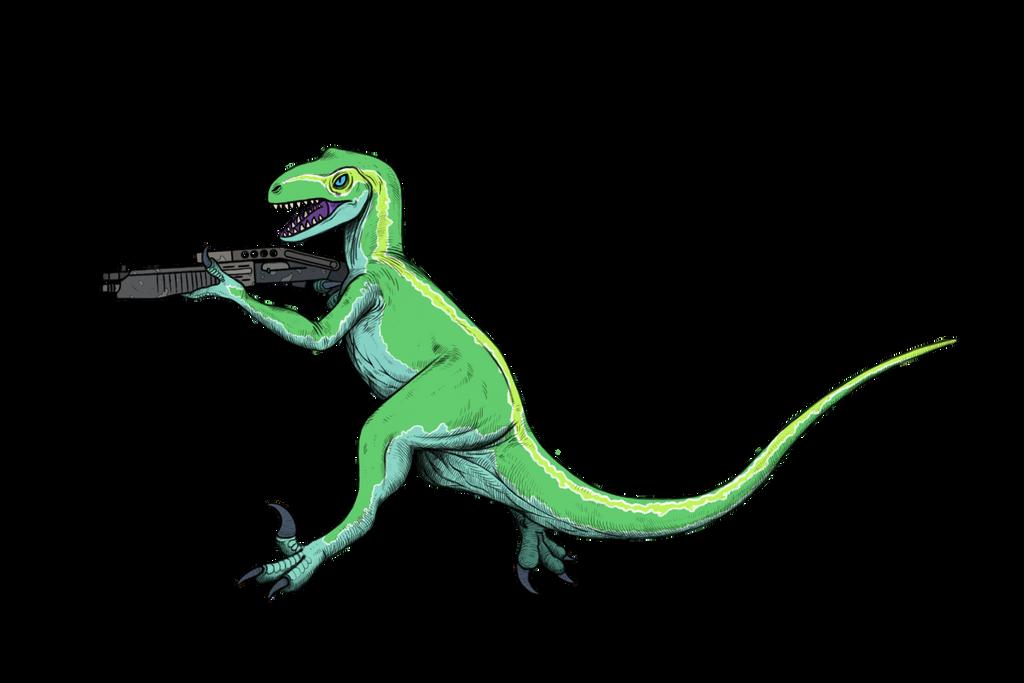 commission : raptor with a shotgun-transparent png by tnilab-ekneb121