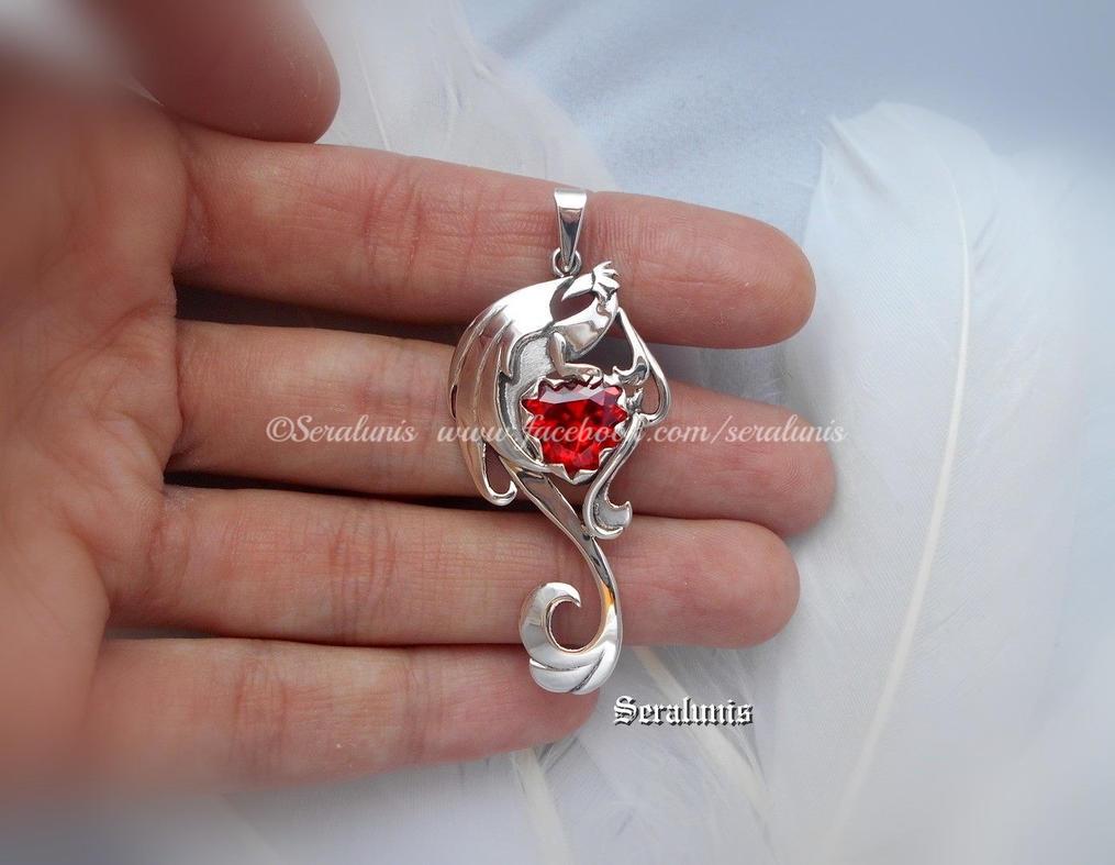 'Dragon heart' handmade sterling silver pendant by seralune