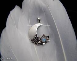 'Moon flower', handmade sterling silver pendant