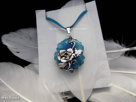'Frozen rose', sterling silver pendant RESERVED