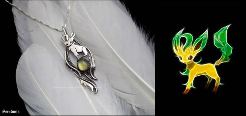 'Leafeon', handmade sterling silver pendant