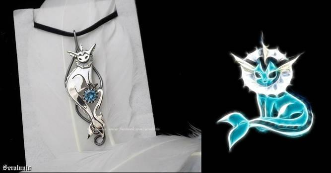 'Vaporeon', handmade sterling silver pendant