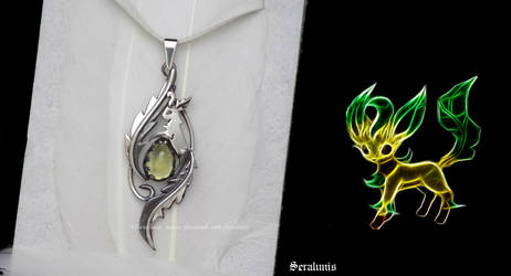 'Tiny Leafeon', handmade sterling silver pendant