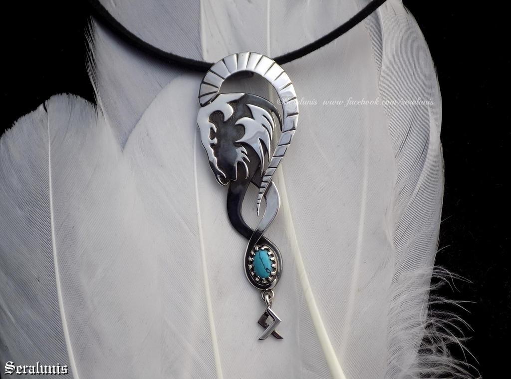 'Nordic Rune', handmade sterling silver pendant by seralune