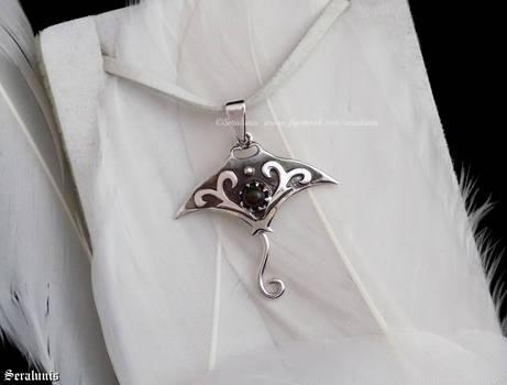 'Stingray', handmade sterling silver pendant