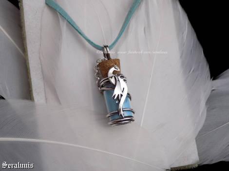 'Glow in the dark Lugia', sterling silver pendant