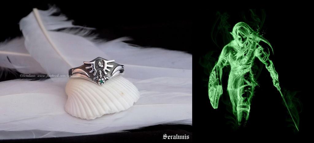 Legend of Zelda handmade ring with green zircon by seralune