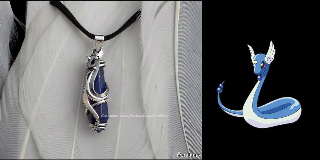 'Dragonair with Lapis lazuli', handmade pendant by seralune