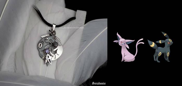 'Espeon-Umbreon Yin Yang', sterling silver pendant