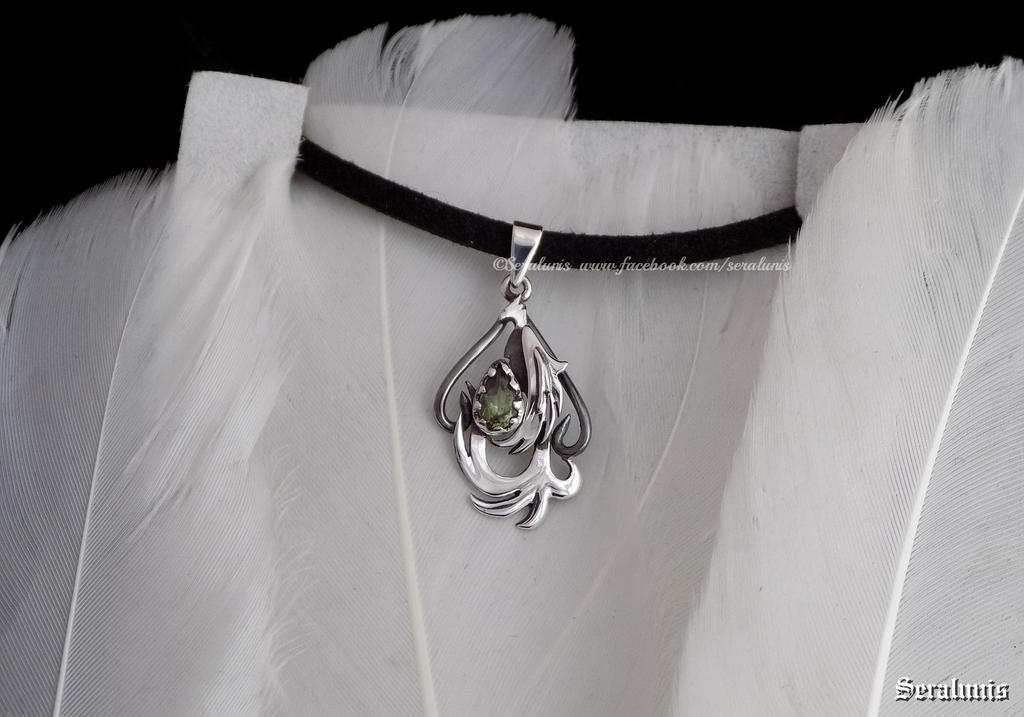 'Tiny Phoenix', handmade sterling silver pendant by seralune