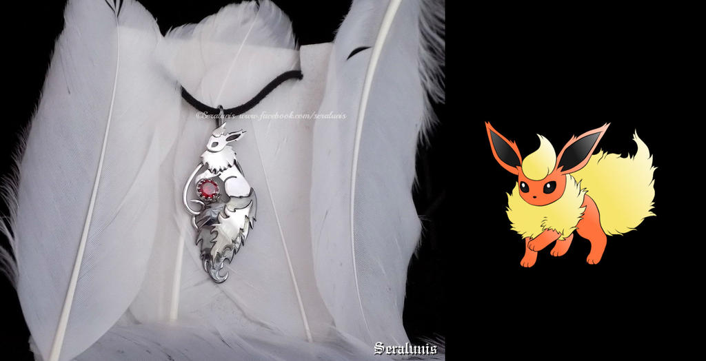 'Flareon, I choose you', sterling silver pendant by seralune