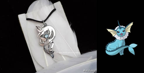 'Vaporeon with Aquamarine' sterling silver pendant by seralune