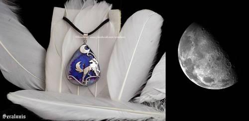 'Night Hunter', sterling silver pendant by seralune
