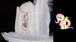 'Fluttershy with rose quartz', handmade pendant by seralune