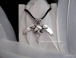 'Hugin and Munin' handmade sterling silver pendant by seralune