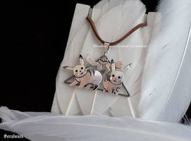 'Pikachu Friends' handmade sterling silver pendant by seralune