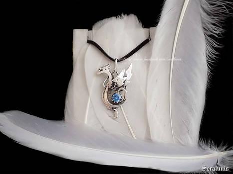 'Snow Dragon' handmade sterling silver pendant