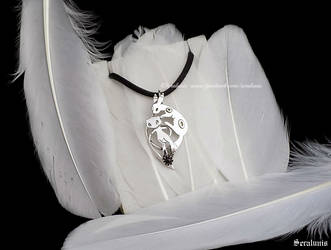 'Mew and Umbreon' handmade sterling silver pendant by seralune