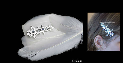 'Ice element' handmade sterling silver hair clip