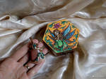 Fairy handpainted wooden box and pendant