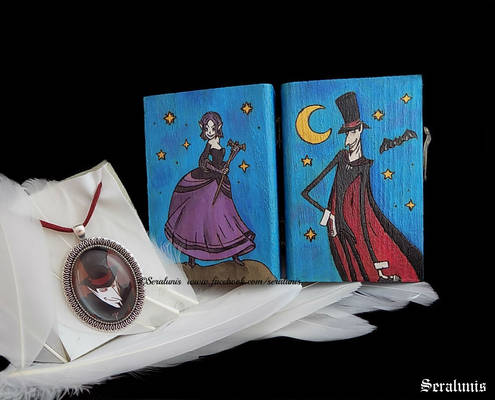 The Night, handpainted wooden box and pendant