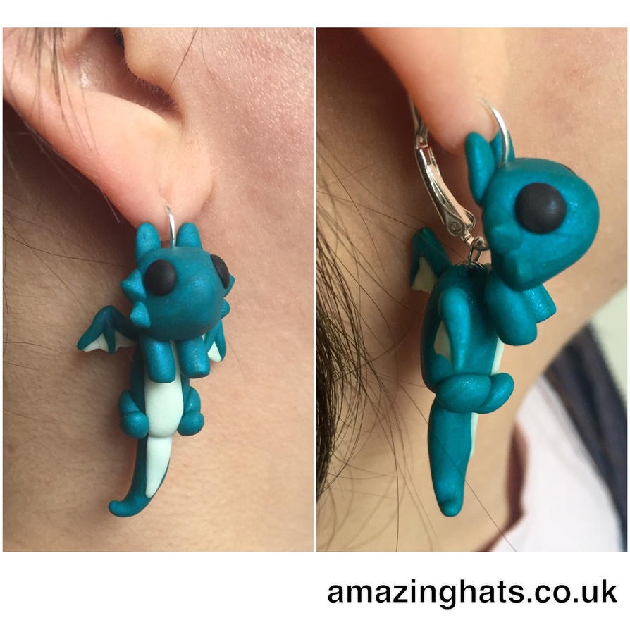 Polymer Clay Dragon Earrings by Amaze-ingHats