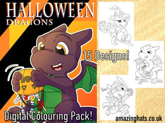 Halloween Dragons Digital Colouring Pack by Amaze-ingHats