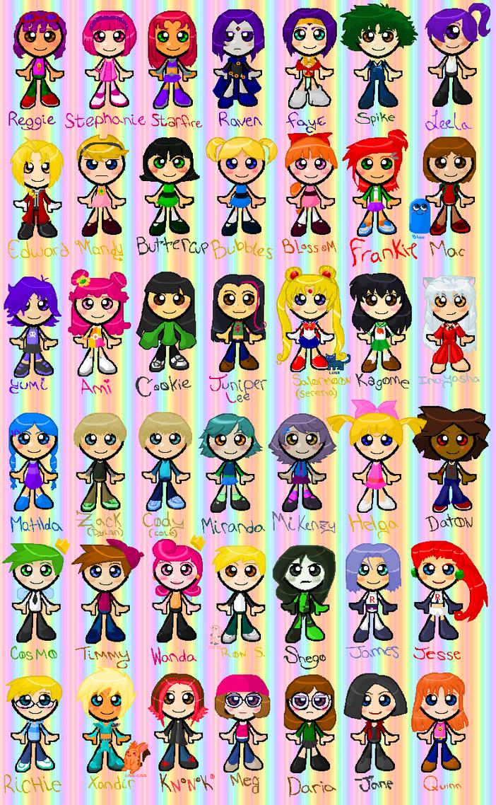 Knonokos Chibi Character Chart by knonoko