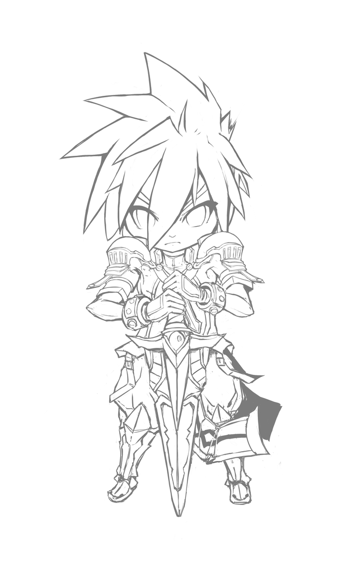 Line Drawing Knight : Elsword lord knight chibi by freezingcicada on deviantart