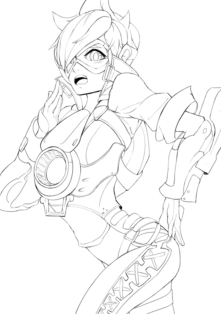 D Line Drawings Quest : Overwatch tracer lineart by freezingcicada on deviantart