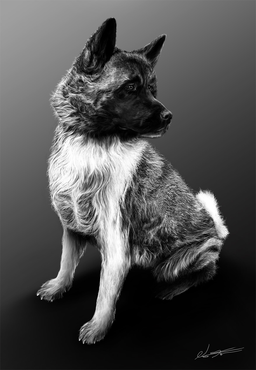 Painting of my Dog - Lea by bm
