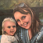 Oilpainting - Portrait of wife and youngest