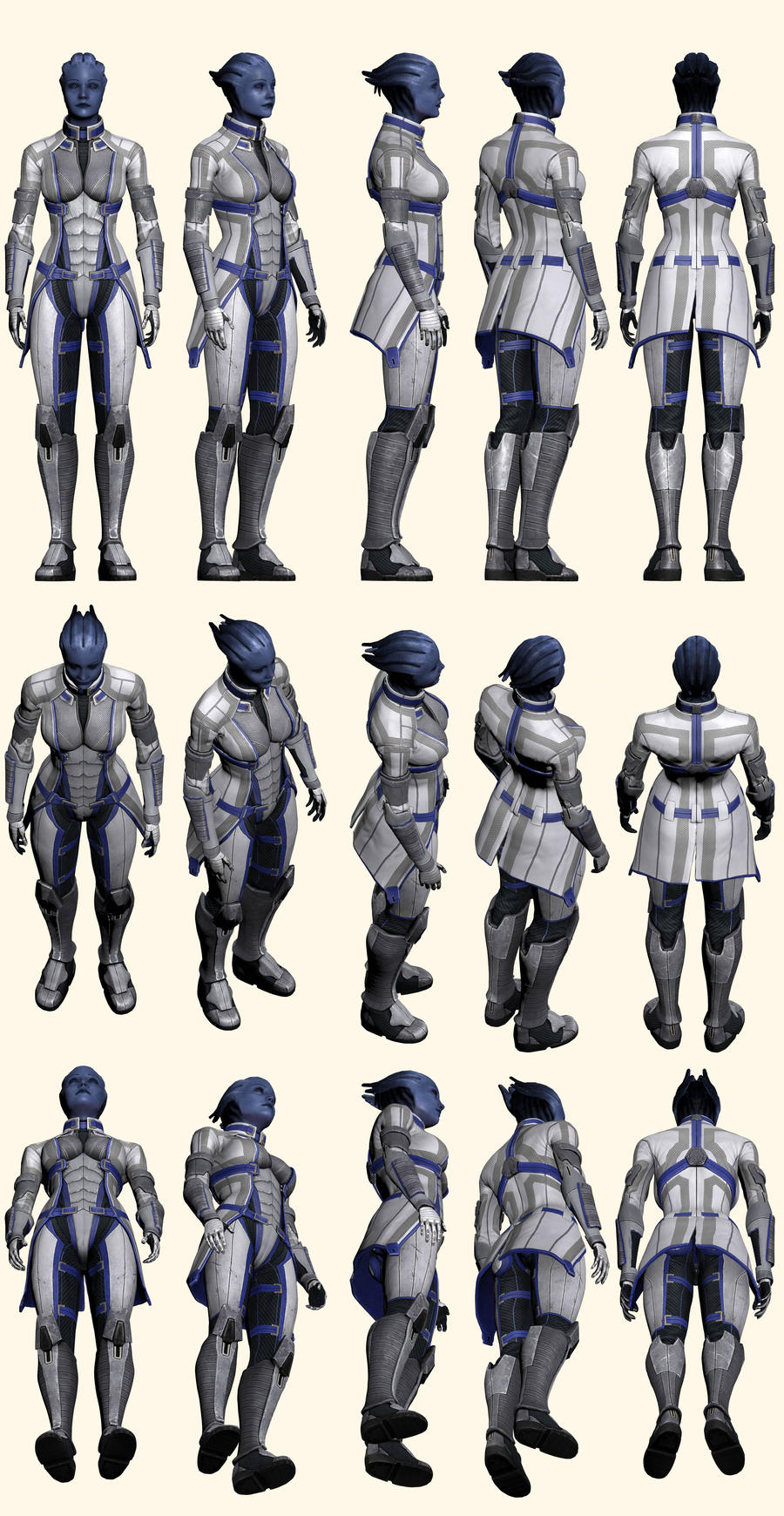 Mass Effect 2, Liara - Model Reference. by Troodon80