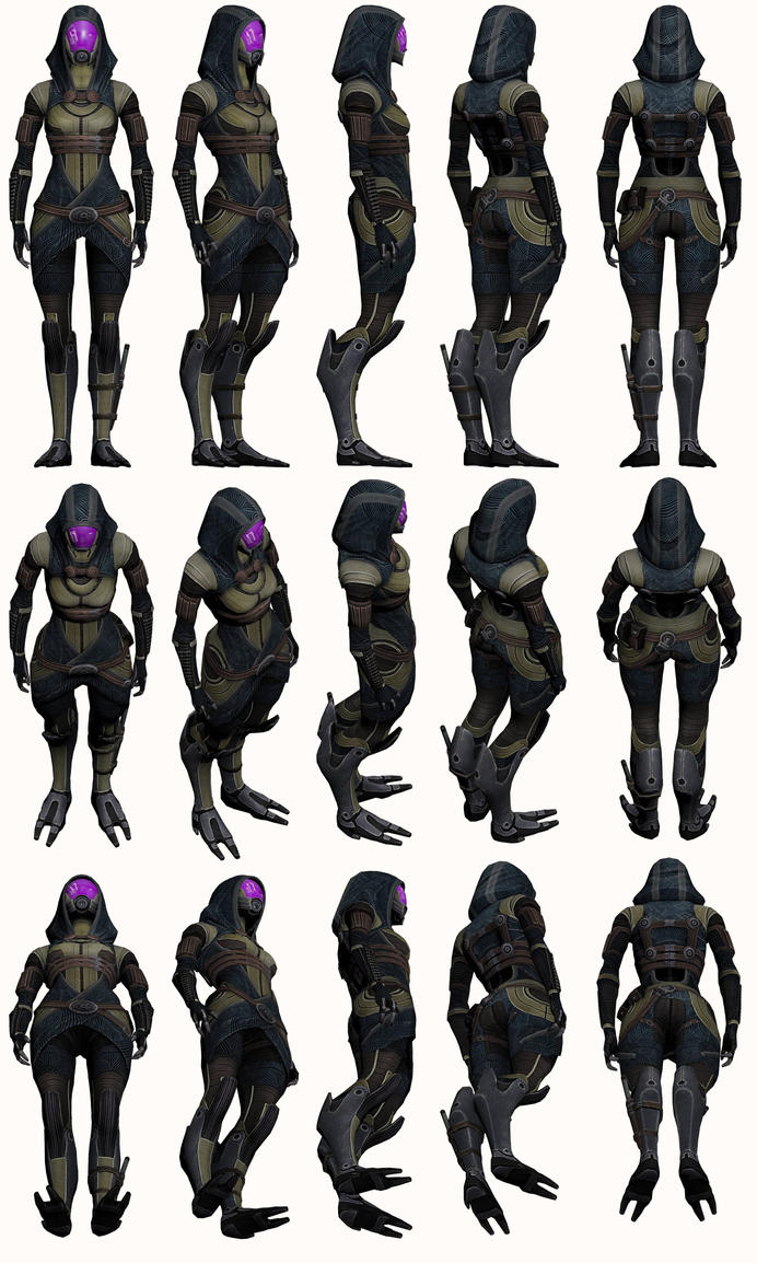 Mass Effect 2, Tali AA - Model Reference. by Troodon80