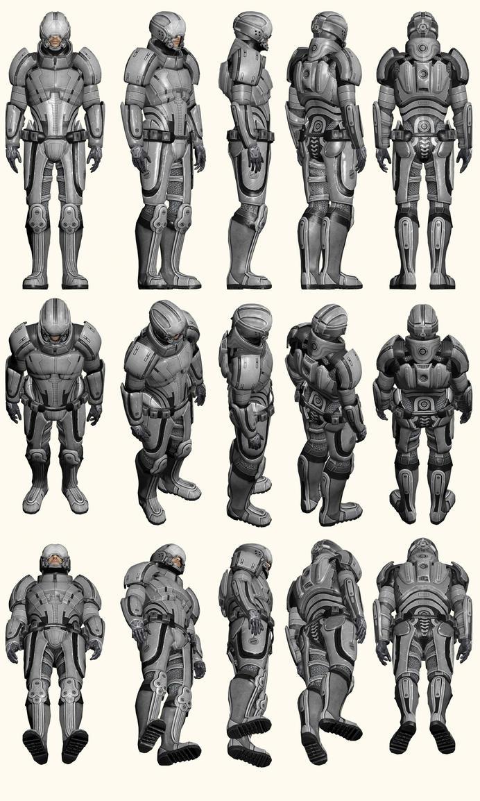 Mass Effect 2, Male Shepard Kestrel Armour - Ref by Troodon80