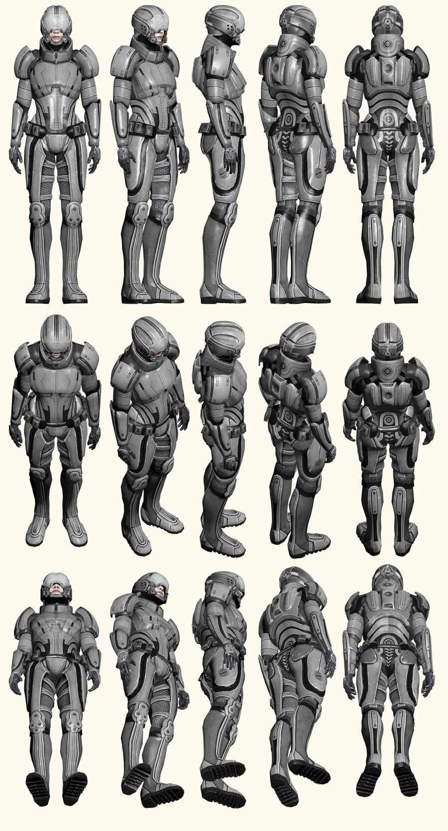 Mass Effect 2, Female Shepard Kestrel Armour - Ref by Troodon80