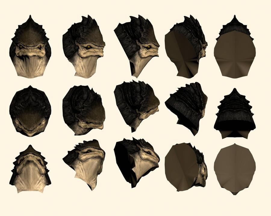 Mass Effect 2, Krogan Head - Model Reference. by Troodon80