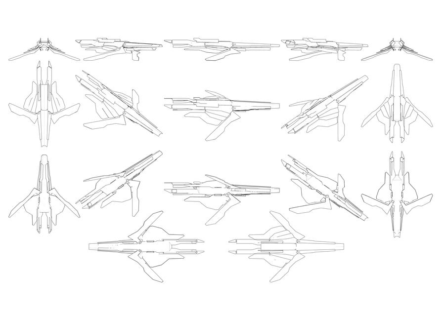 Mass Effect, Turian Frigate - Contour Reference. by Troodon80