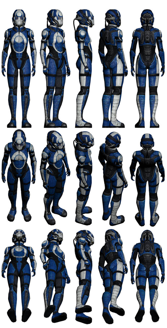Mass Effect 2, Female Blue Suns Mercenary Ref by Troodon80