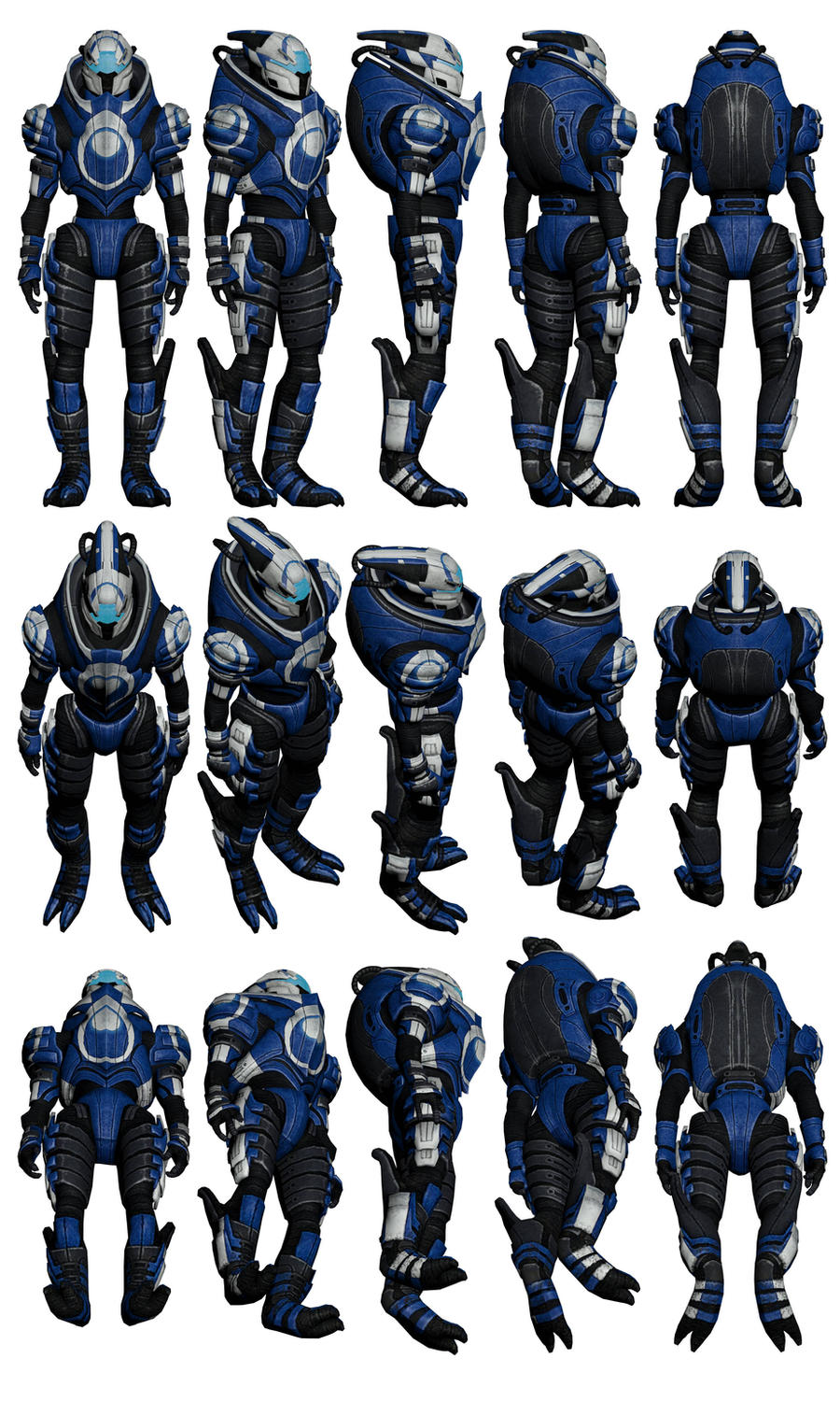Mass Effect 2, Turian Blue Suns Mercenary Ref by Troodon80