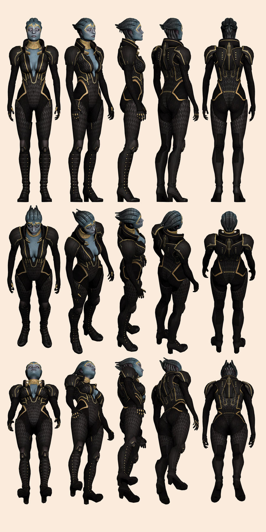 Mass Effect 2, Samara - Model Reference. by Troodon80