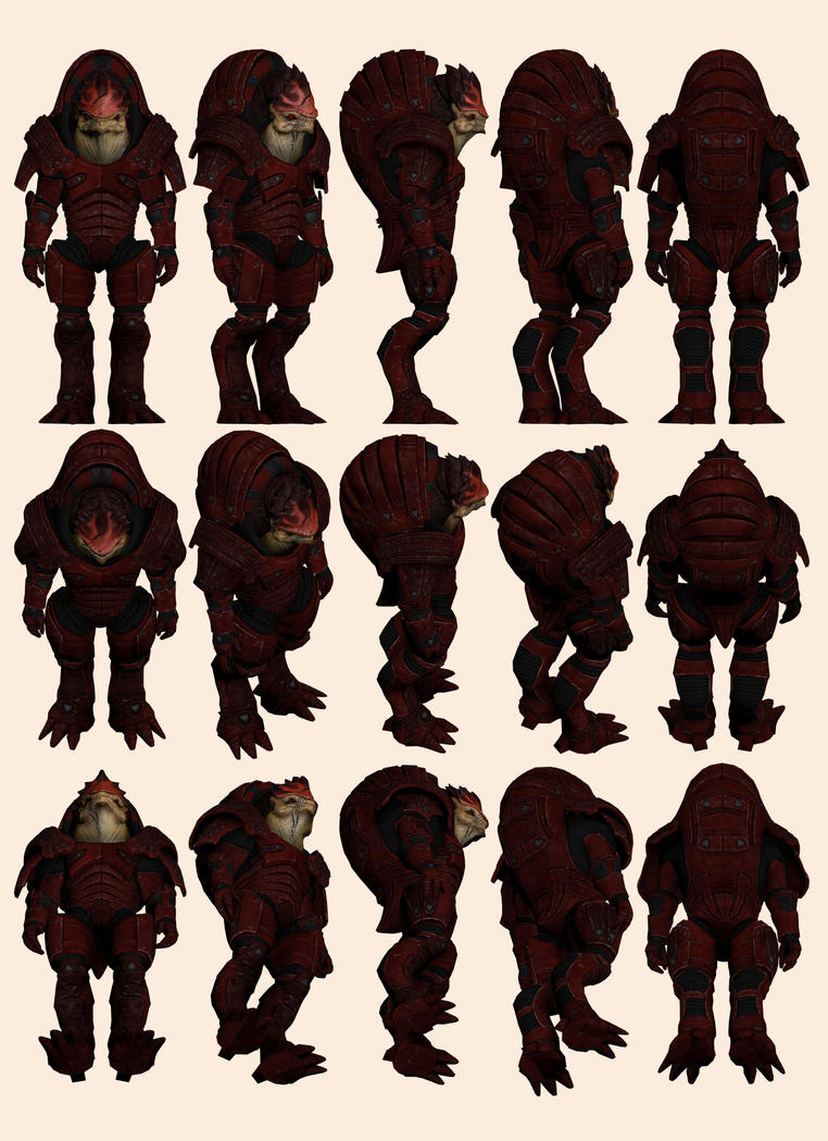 Mass Effect, Wrex ME1 Armour Reference. by Troodon80