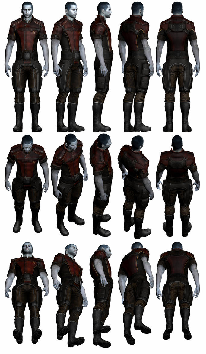Mass Effect 3, Male Shepard - Grissom Fatigues. by Troodon80