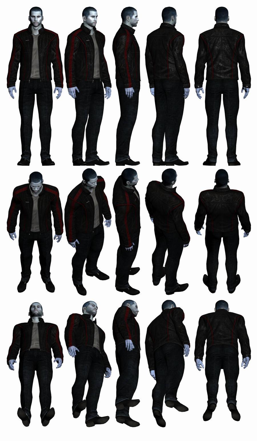 Mass Effect 3, Male Shepard - Casual N7 Jacket. by Troodon80